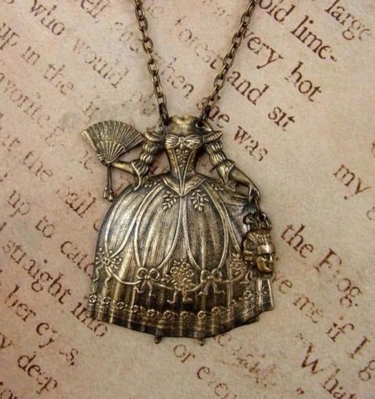 jewels necklace vintage maria antoinette bronze dress old