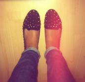 shoes,ballet flats,studs,studded