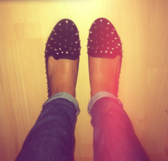 shoes ballet flats studs studded