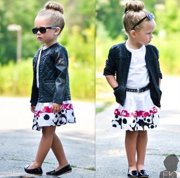 jacket girl toddler kids fashion kids fashion kids fashion leather jacket  sunglasses bun skirt kids fashion 7221b326d