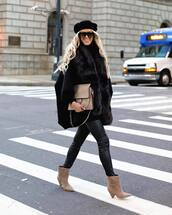 shoes,boots,suede boots,mid heel boots,pants,leather pants,black pants,vest,poncho,shoulder bag,sunglasses,beret
