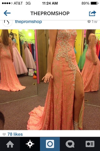 dress long prom dress prom dress lace dress pink prom dress coral dress