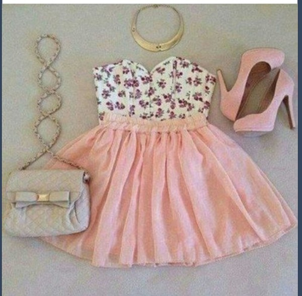 shirt floral skirt jewels shoes bag