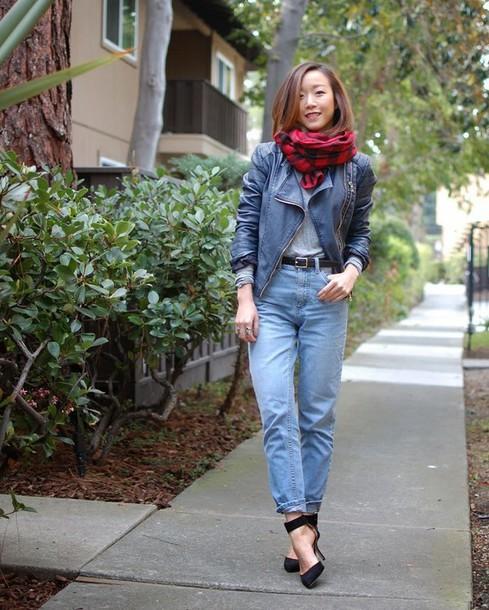 monkeyshines blogger jacket jeans shoes scarf