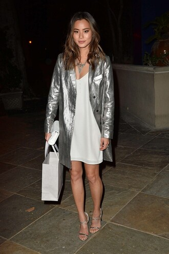 coat metallic silver jamie chung clutch dress necklace blogger sandals bag silver sandals