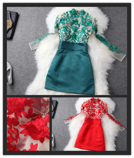 Fashion perspectivity 2013 organza flower embroidery brand red green lace evening dress long sleeve dress wedding dress autumn on Aliexpress.com