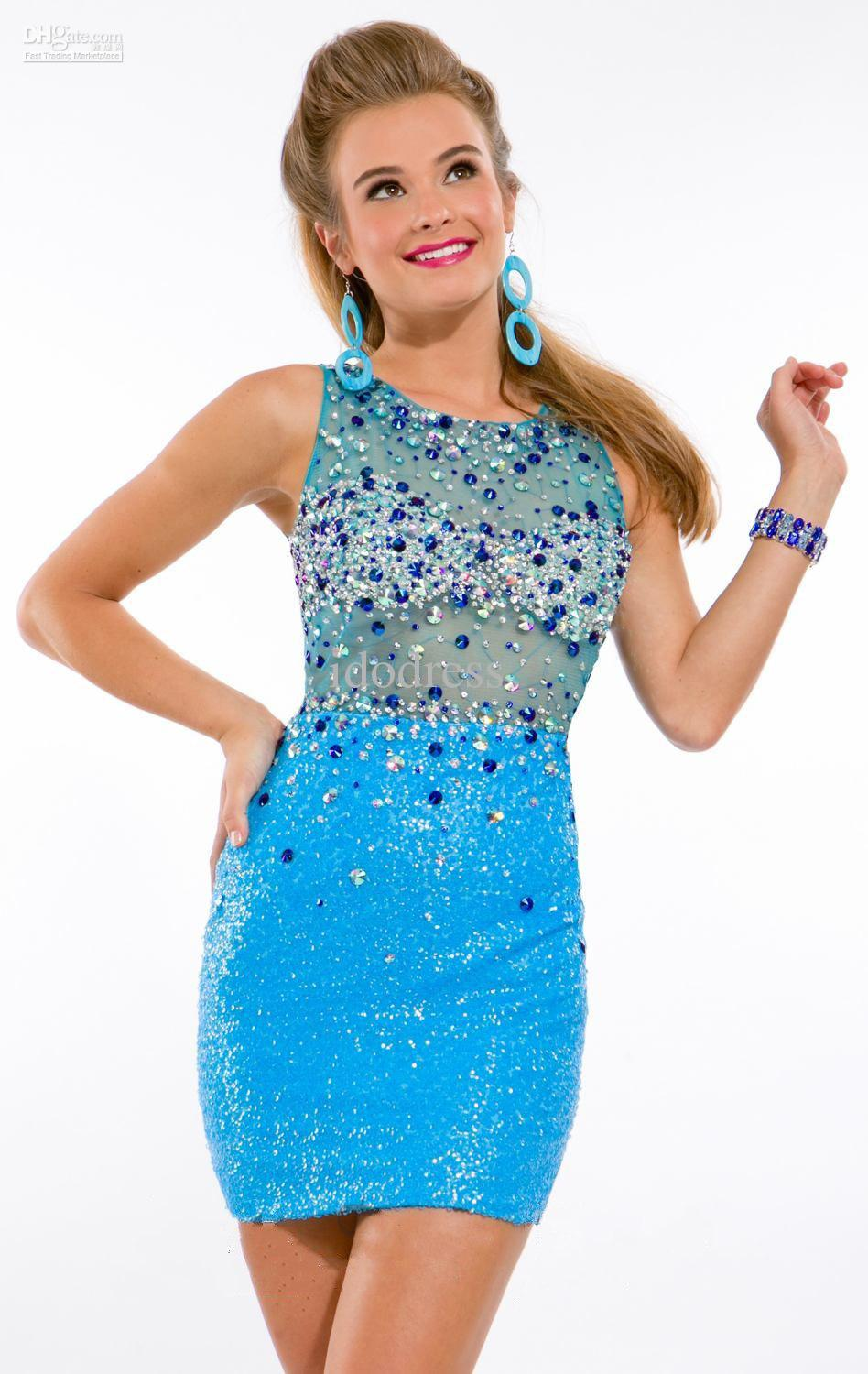 Lace Clothing Open Back Cheap Blue Homecoming Dresses Sheer Crew ...