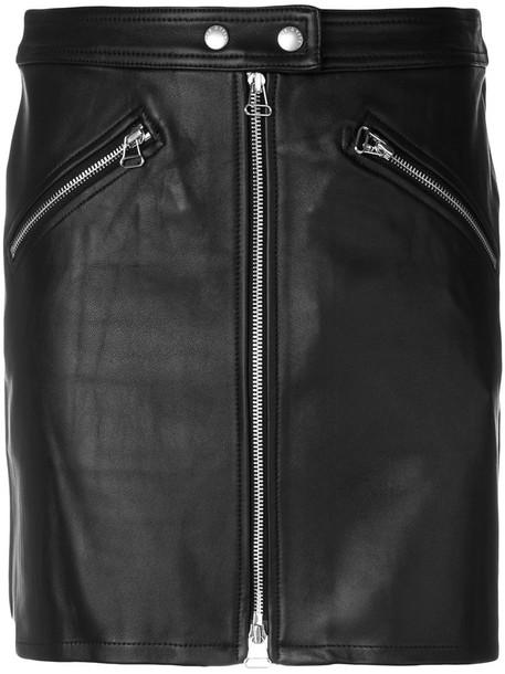 Rag & Bone /Jean - zipped biker skirt - women - Cotton/Lamb Skin/Polyester/Spandex/Elastane - 30, Black, Cotton/Lamb Skin/Polyester/Spandex/Elastane