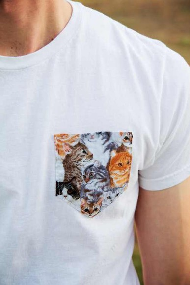 t-shirt tshirt pocket cat hipster indie shirt cats white pocket design