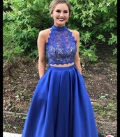 dress,blue,prom dress,two piece dress set,two-piece,lace dress