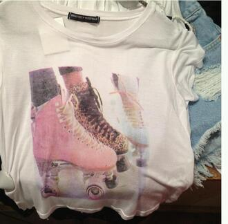 t-shirt skates pink mint leopard print white shirt