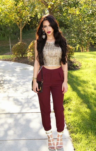 shirt shoes fashion outfit looks crop tops tank top pants girly wine burgundy high waisted pleated t-shirt burgundy pants
