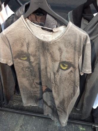 t-shirt lion printed t-shirt fashion grey t-shirt animal face print