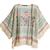 Top cape motif floral orné de franges mi-manche