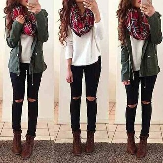 scarf coat green plaid flannel scarf red jacket sweater tartan scarf