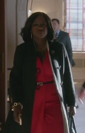 dress,viola dav,red,wrap,how to get away with murder,annalise keating,sleeveless,v neck,crepe