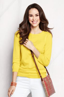 Women's Supima 3/4-sleeve Crew Sweater from Lands' End