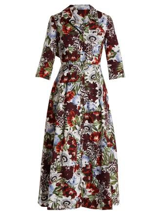 shirtdress cotton print red dress