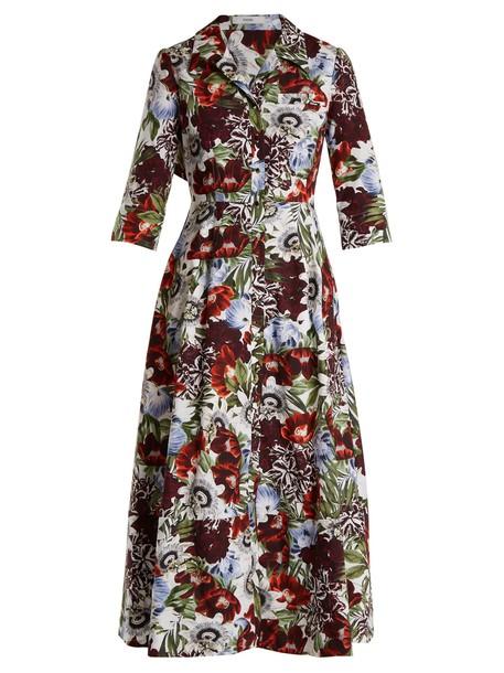 Erdem shirtdress cotton print red dress