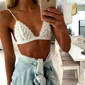 underwear,lace,bralette,white lace,lace bralette,bra,floral,floral lace,floral white,white,crop tops,sexy,bikini,tank top,camis,camisole,white bralette,floral bra,floral bralette,embroidered,embroidery white,cropped,bustier,lace bustier,bralet top,white top