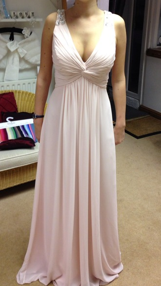 dress prom dress bridesmaid blush pink blush pink dress blush pink prom dress bling bling sleeves grecian dress grecian maxi dress grecian dress with bling twist front dress plunge dress plunge v neck blush pink bridesmaid dresses