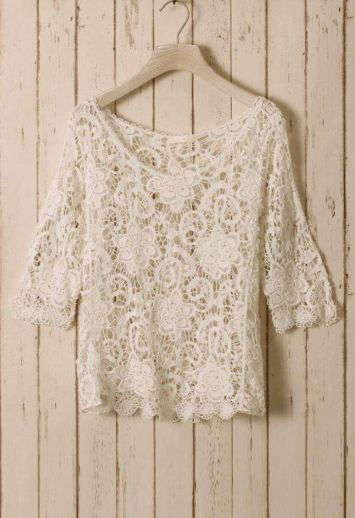 White sheer floral crochet top