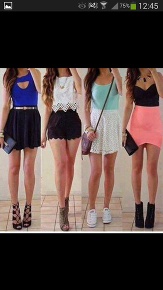 blouse black skirt blue tank top black crop top white crop tops pink skirt white skirts