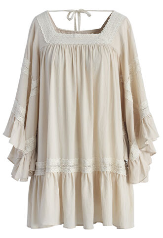 dress chicwish bell sleeve lace trimmed tunic lace tunic bell sleeve tunic summer tunic boho boho tunic chicwish.com lace summer top