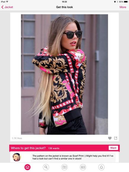 baseball jacket sunglasses colorful pink jacket