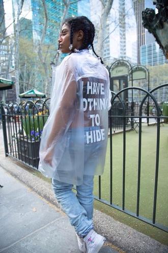 jacket plastic raincoat quote on it