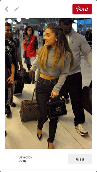 sweater grey cropped jeans grey sweater knitted sweater crop cropped sweater cute cute outfits black jeans high waisted jeans skinny jeans heels high heels high waisted ariana grande crop tops knitted crop top