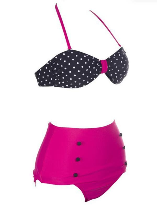Polka Dot Print Push-Up Design Buttons Embellished Halter Swimsuit : KissChic.com