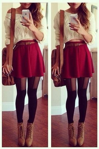 tights black skirt sweater