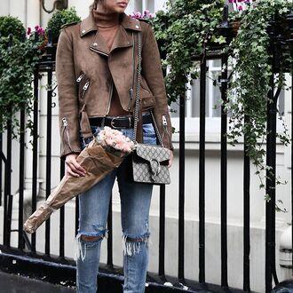 jacket tumblr brown jacket flowers denim jeans blue jeans ripped jeans bag gucci gucci bag dionysus belt