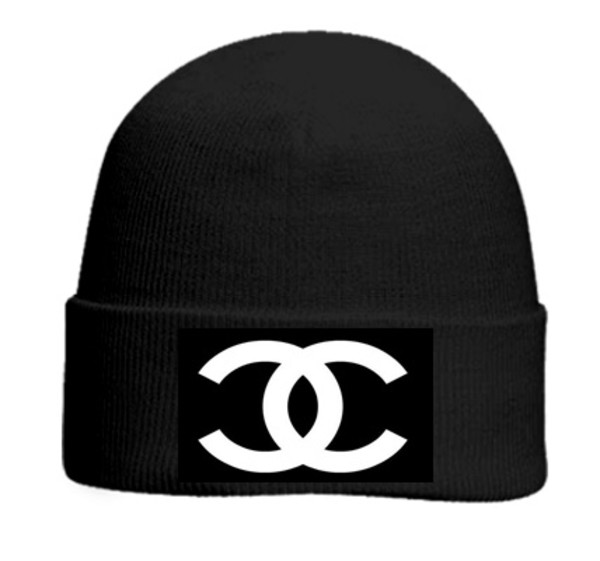 hat chanel black white beanie beanie