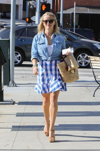 skirt plaid mini skirt shirt top reese witherspoon streetstyle summer outfits denim shirt