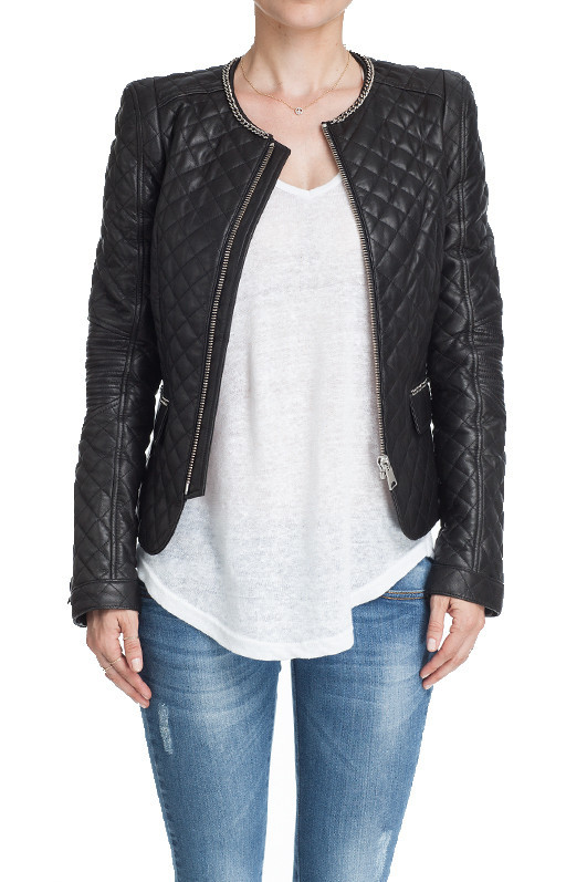 Leather Jacket - Quilted leather jacket in black with chain detail ...