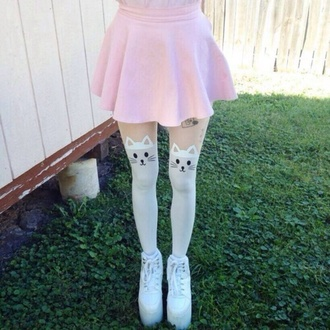 tights white tights skirt shoes