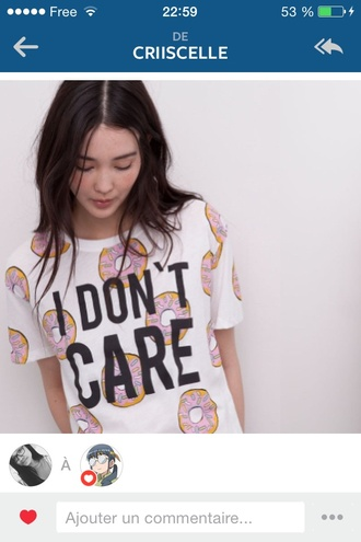 t-shirt gimme doughnuts cute i don't care cool funny white food yummy donut
