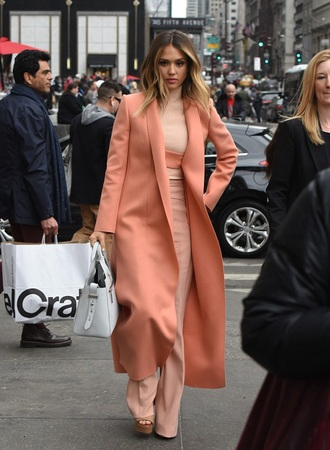 coat jessica alba salmon peach long coat