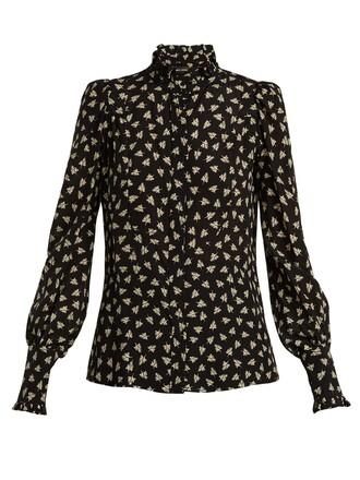 blouse print silk white black top