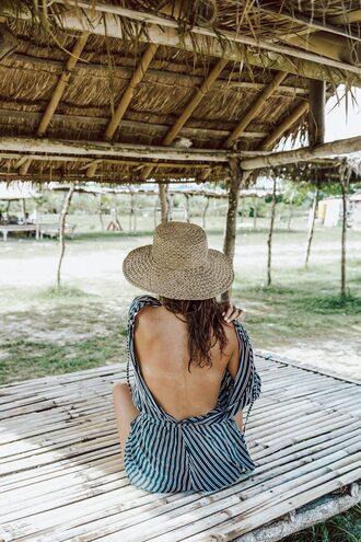 hat open back tumblr sun hat backless stripes romper
