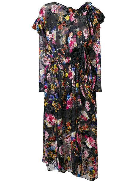 PREEN BY THORNTON BREGAZZI dress women floral black silk