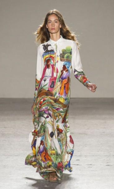 dress stella jean multicolor shirt dress maxi dress