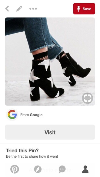 shoes booties black boots stars