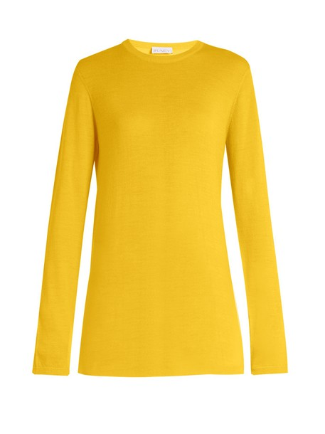 RAEY Long-line fine-knit cashmere sweater in yellow