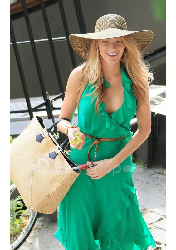 Blake lively gossip girl tea length green satin celebrity dress gg