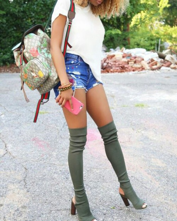Shoes: olive green, thigh high boots, heels
