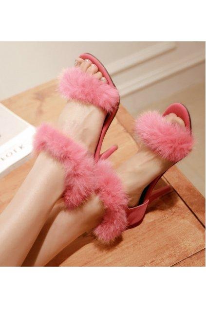 Suede Rabbit Fur Furry Eskimo Straps High Heels Stiletto Sandals Shoes