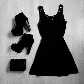 dress black little grunge studs pretty sexy dress little black dress
